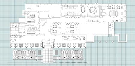 Standaard inrichting symbolen gebruikt in de architectuur is van plan pictogrammen instellen, restaurant planning icon set, grafisch ontwerp elementen. Kleine cafe - bovenaanzicht plannen. Vector isolated.Blueprint.