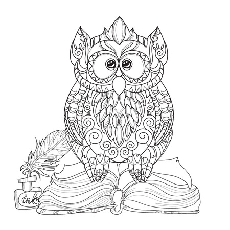 Old Owl on books- hand drawn doodle vector on white background.Isolated illustration zen art ready for adult anti stress relax coloring book. Illustration