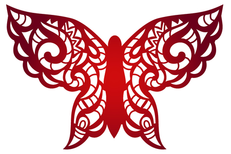 Laser cut flower butterfly pattern for decorative panel. Vector template ready for printing, postcards packets, wedding invitation, engraving, paper, wood, metal.