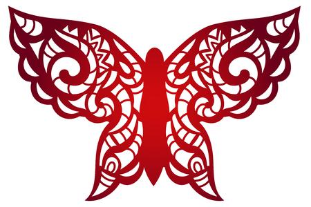 Tagliato a laser del modello di fiore di farfalla per il pannello decorativo. Modello di vettore pronta per la stampa, cartoline pacchetti, invito a nozze, incisione, carta, legno, metallo. Archivio Fotografico - 68319429