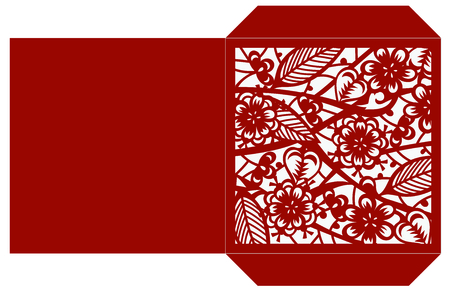 Laser cut flower pattern for decorative square envelop Vector template ready for printing, postcards packets, wedding invitation, engraving in paper, wood, metal.