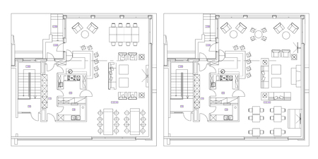 Standard cafe furniture symbols on floor plans Vektoros illusztráció