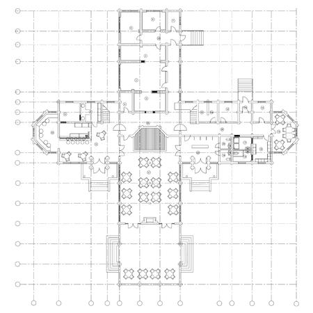 size: Standard cafe furniture symbols on floor plans