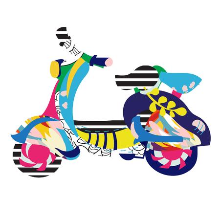 Motor scooter doodle Illustration