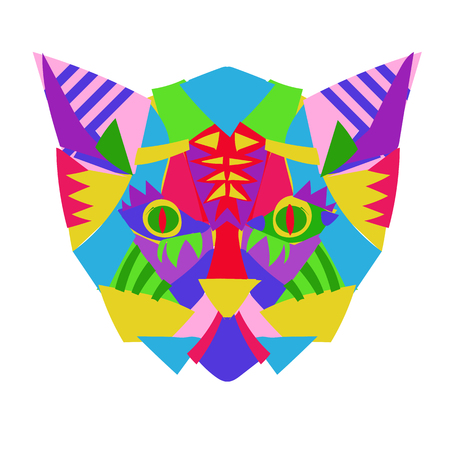 Hand drawn doodle outline cat head