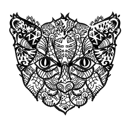domestic: Hand drawn doodle outline cat head