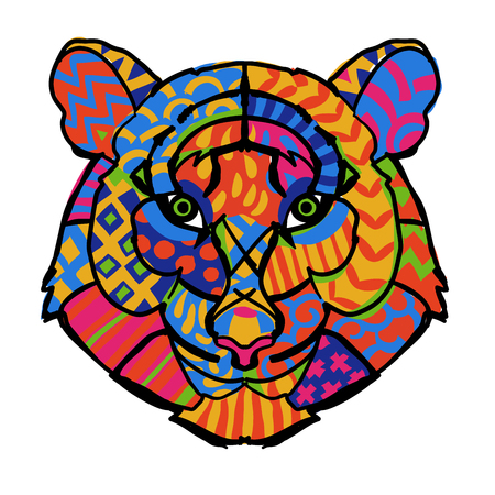 Hand drawn doodle outline tiger head