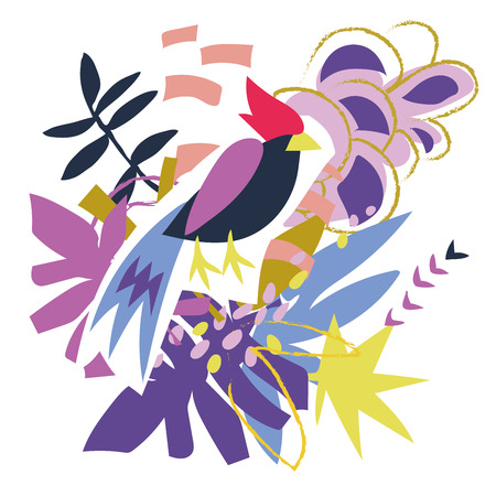 Abstract bird and floral elements paper collage.Vector illustration hand drawn.Sketch ready for contemporary scandinavian flat design- poster, invitation, post card, t-shirt design. Ilustração