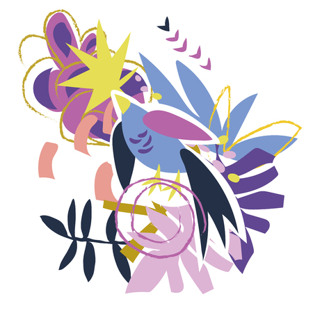 Abstract bird and floral elements paper collage.Vector illustration hand drawn.Sketch ready for contemporary scandinavian flat design- poster, invitation, post card, t-shirt design. Illustration