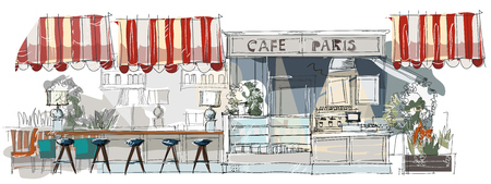 Contemporary interior cafe doodles in classical style. Hand drawn sketch.