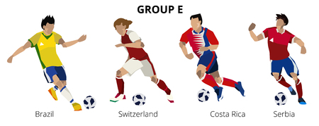 Soccer players group E. Team to final round of football soccer championship 2018 in Russia. Vector hand drawn Illustration