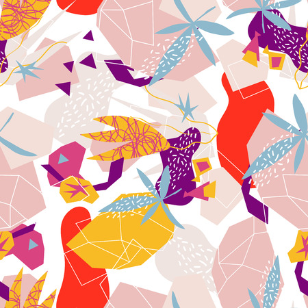 Abstract floral elements paper collage.Vector illustration hand drawn. Illustration