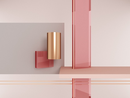 Geometric shapes pink and gold Imagens