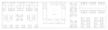 Standard furniture symbols used in architecture plans icons set, icon set, graphic design elements. Small cafe, restaurant, beer pub - top view plans. Vector isolated.