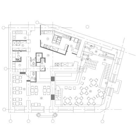 Standard cafe furniture symbols on floor plans