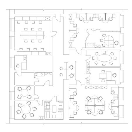 Simboli di mobili standard utilizzati nel set di icone di piani di architettura, set di icone di pianificazione, elementi di progettazione grafica. Piccolo ufficio - piani di vista dall'alto. Vettore isolato.