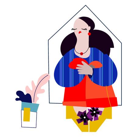 Illustration of a Female Interior Designer with ideas Ilustração