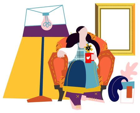 Pretty girl on sofa. Vector flat cartoon illustration Ilustração