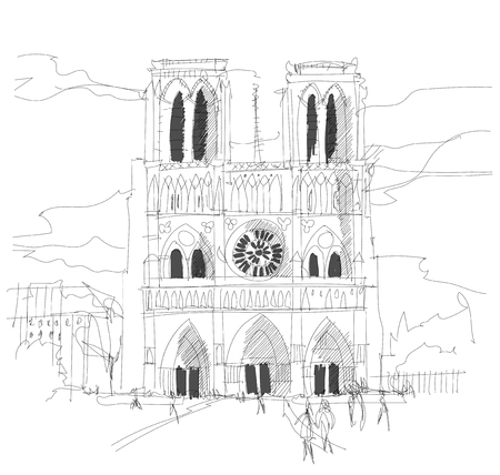 Paris, France, Notre Damme Cathedral sketch hand drawn