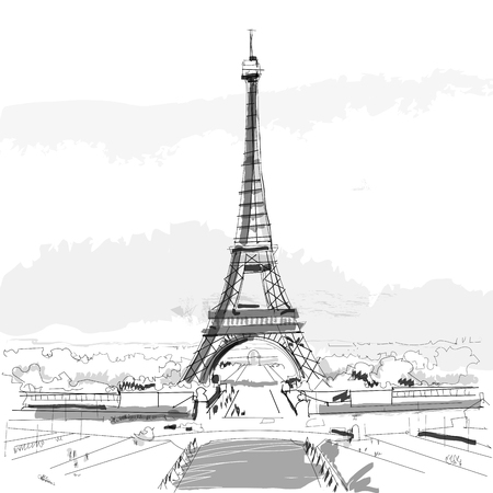 Paris, France, city ink sketch footage nand drawn
