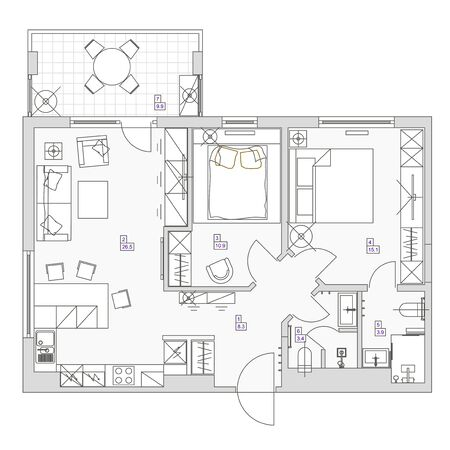 Architectural background. Eps10 vector illustration Flat room design top view plan.