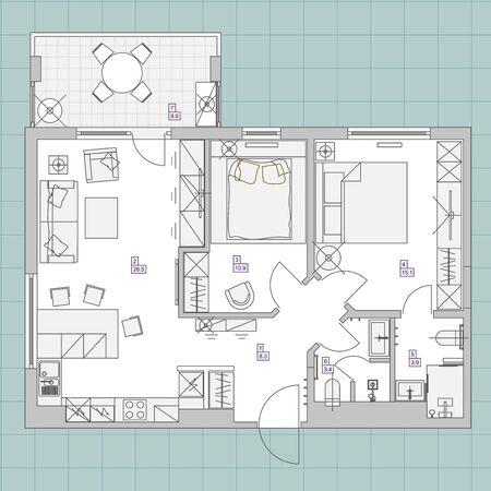 Contexte architectural. Illustration vectorielle Eps10 Plan de vue de dessus de conception de chambre plate. Vecteurs