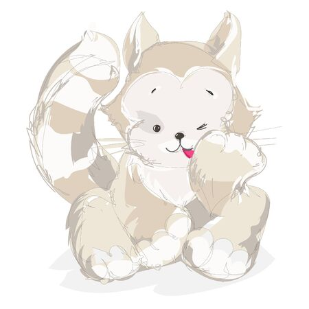 Illustration of the  cat on a white