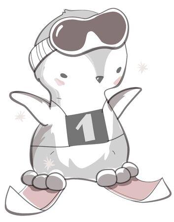Cute pink baby penguin cartoon on skis Stock Illustratie
