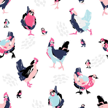 Sketch hen and chiken in abstract style, vector seamless pattern.Pastel color