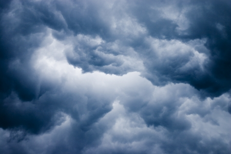 turmoil: Ominous dark clouds during storm Stock Photo