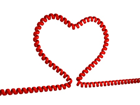 phone cord: Illustration of heart made from phone cord