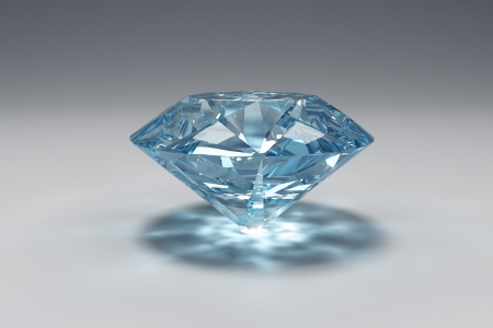 the caustic: 3D illustrationof  blue diamond with caustic Stock Photo