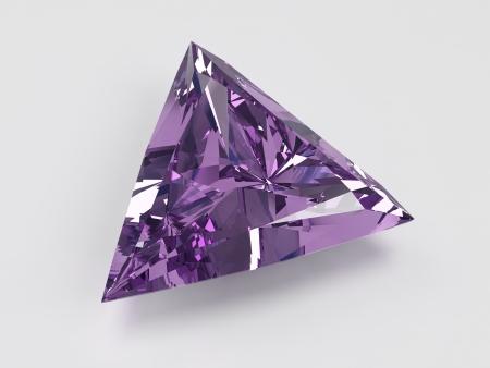 trilliant: 3D illustration of purple amethyst with trilliant shape