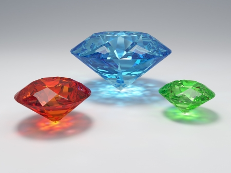 three wishes: 3D illustration three gems with caustic Stock Photo