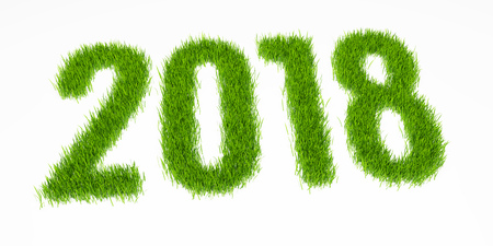 3D render of 2018 year digits made from grass. Perspective view. Isolated on white