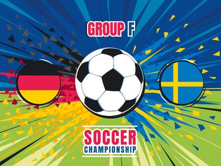 Soccer world championship match template. Germany vs Sweden. Group F. Color vector illustration