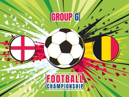 Football world championship match template. England vs Belgium. Group G. Color vector illustration