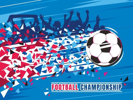Football championship concept vector illustration. Flying soccer ball with trace and fans.
