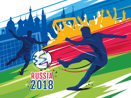 Soccer championship in Russia. Color vector illustration.