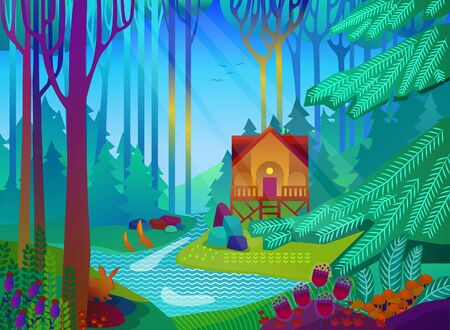 Forest glade with house in the morning. Vector illustration Ilustração