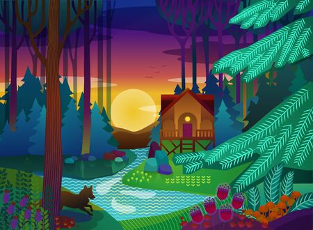 Forest glade with house in the evening. Vector illustration Ilustração