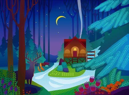 Forest glade with house at night. Vector illustration
