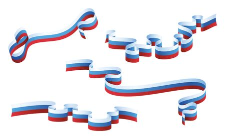 Russia flag ribbons collection isolated on white background. Vector illustration