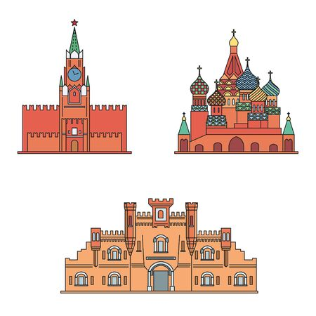 Russian fortress building. St Basils Cathedral, Spasskaya tower of the Moscow Kremlin, Brest Fortress building. Vector illustration