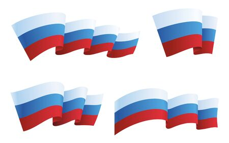 Russia flag collection isolated on white. Vector illustration Ilustração
