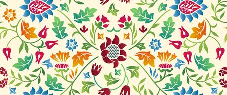 Floral seamless horizontal pattern on light
