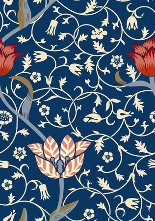 Vintage floral seamless pattern on dark