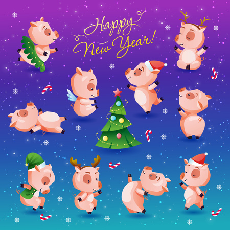 Happy new year set of funny and cute piglets. Chinese calendar symbol of 2019 year. Vector illustration collection for print sticker invitation greeting card calendar t-shirt poster. Ilustração