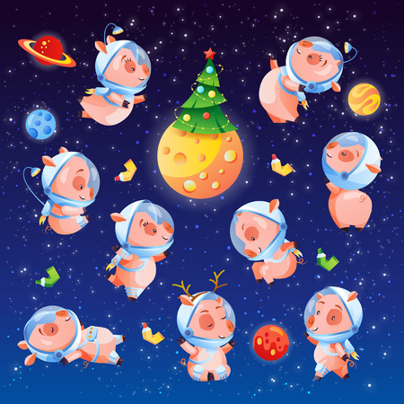 Christmas set of funny pigs in space with tree and planets. Chinese symbol of 2019 year. Vector illustration collection for print sticker invitation greeting card calendar t-shirt poster. Illustration