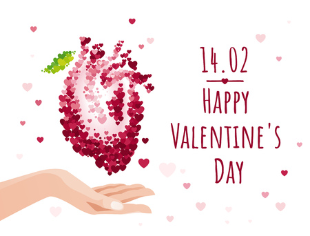 St Valentines day greeting card with hand holding anatomical human heart isolated on white background. Vector illustration collection Ilustração